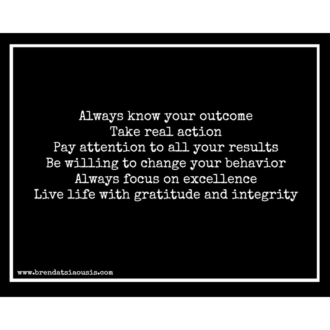 """Always know your outcome..."""