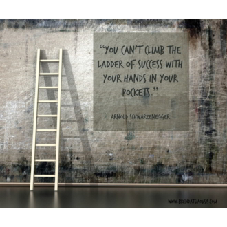 """You can't climb the ladder of success with your hands in your pockets."" -Arnold Schwarzenegger"