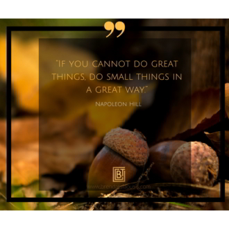 """If you cannot do great things, do small things in a great way."" -Napoleon Hill"